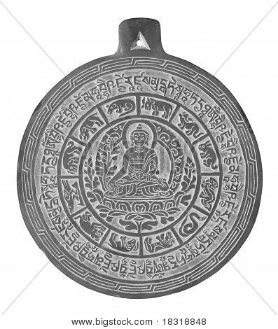 Isolated on white, Bhaisajyagur (tib. Sanje Menla) - Medicine Buddha and his mantra carved in stone, popular souvenir from Nepal. poster