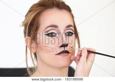 Visagiste applying cat makeup onto face of beautiful young woman in salon