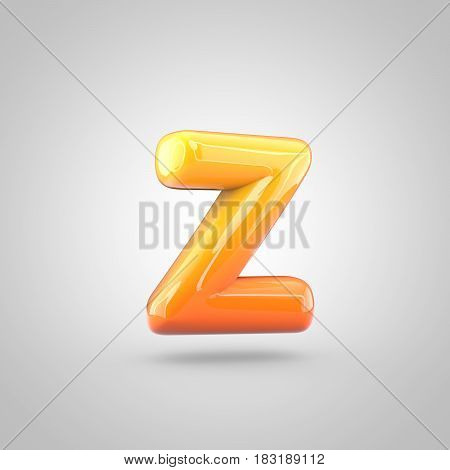 Glossy Orange And Yellow Gradient Paint Alphabet Letter Z Lowercase Isolated On White Background
