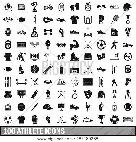 100 athlete icons set in simple style for any design vector illustration