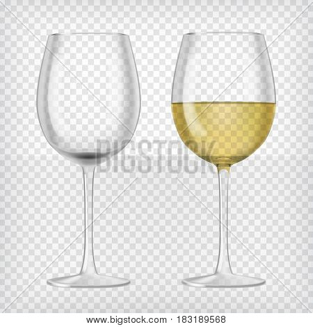 Set of realistic transparent wine glasses. One glass with red wine and one empty glass. Graphic design elements for advertisement, flyer, poster, web site, restaurant menu. Vector illustration.