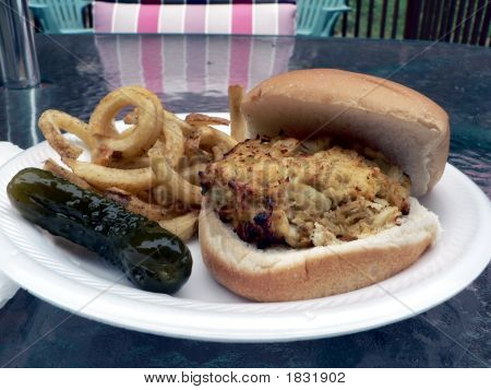 Crabcake Sandwich With Fries And Pickle 3