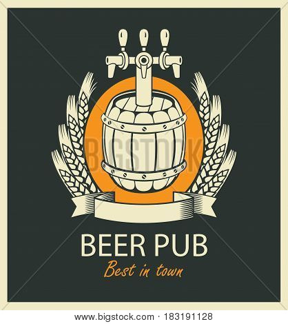 template vector beer pub label with barrel coat of arms ears of wheat and ribbon in retro style