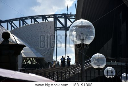 Sydney Australia - Apr 23 2017. Policemen invigilate at Opera House before arriving Mike Pence the vice president of the United States.