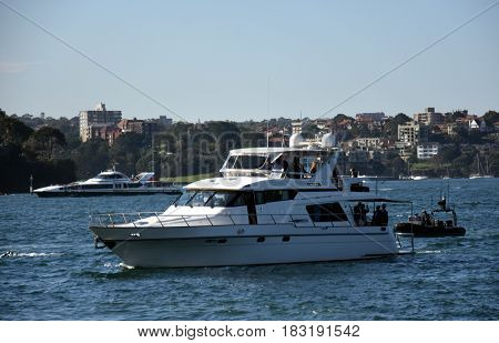 Sydney Australia - Apr 23 2017. Mike Pence the vice president of the United States arriving on a yacht to Sydney Opera House.