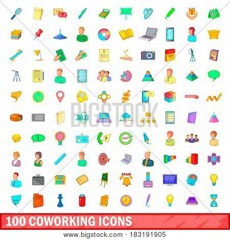 100 coworking icons set in cartoon style for any design vector illustration