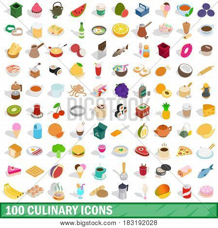 100 culinary icons set in isometric 3d style for any design vector illustration