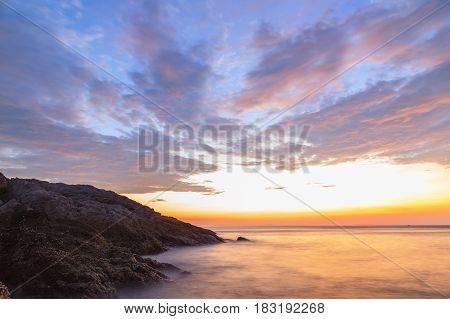 Beautiful sunset twilight at Promthep cape view point Phuket Thailand