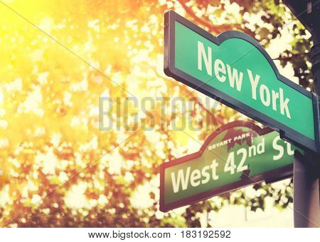 Fifth Avenue and West 42nd Street sign in New York City