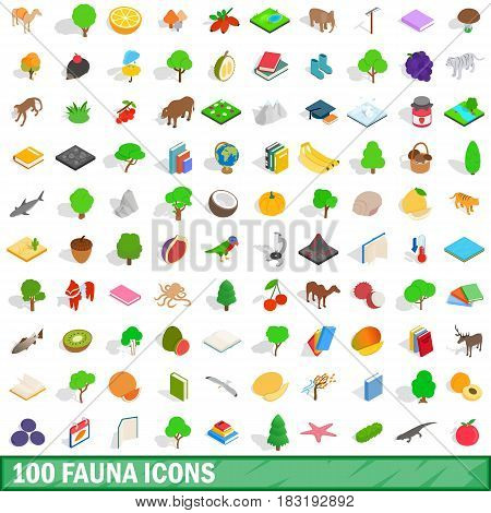 100 fauna icons set in isometric 3d style for any design vector illustration