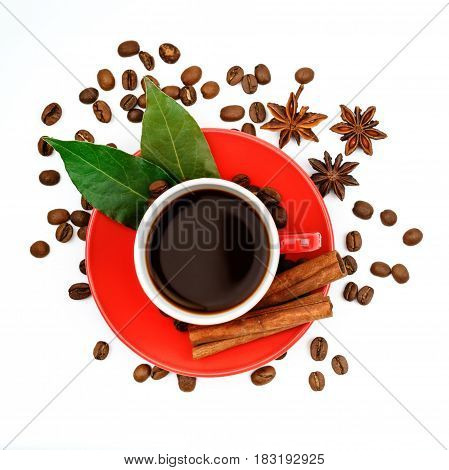 Red ceramic coffee Cup with coffee and cinnamon on a white background. Isolated