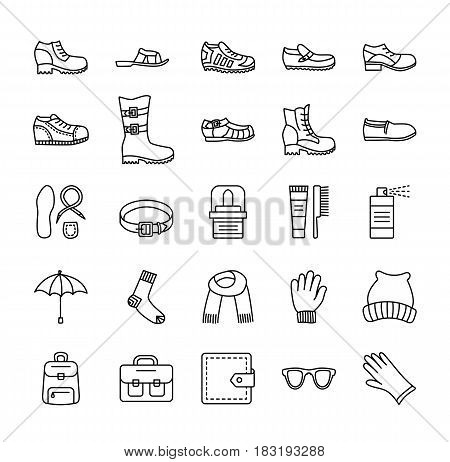 Men's shoes & accessories. Vector line icon set. Various styles of footwear. Boots sneakers sandals slippers. Bag glove sunglasses umbrella hat scarf sock. Shoe care products: polish cream brush.