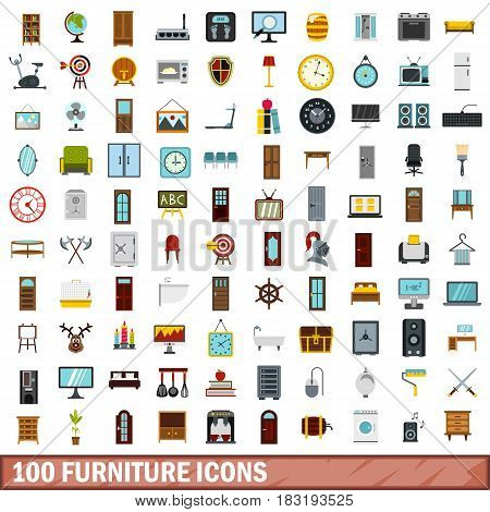 100 furniture icons set in flat style for any design vector illustration