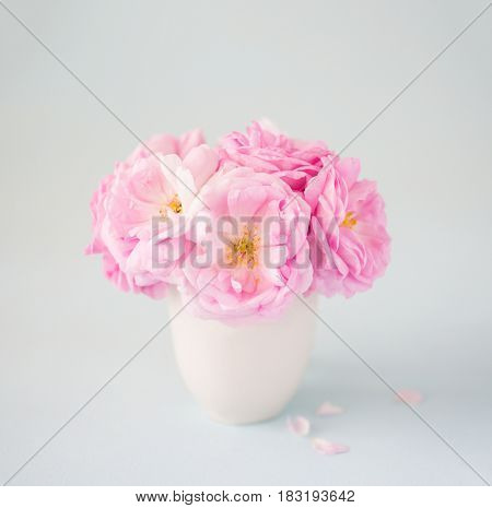 Small  light pink bouquet of roses   in ceramic vase against  of  pale  grey  background.  Shallow depth of field. Selective focus