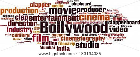 Bollywood word cloud concept. Vector illustration on white