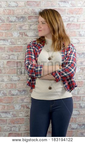 portrait of young woman with a check shirt