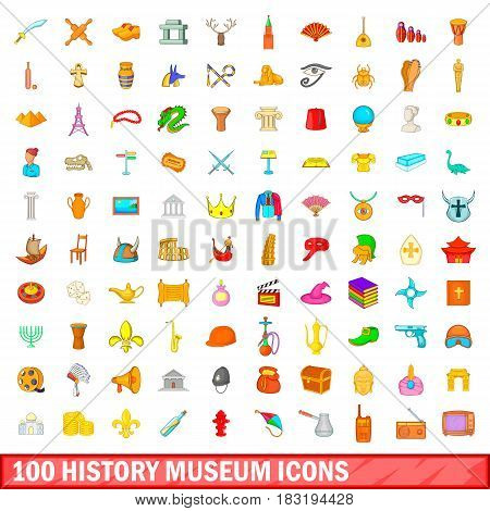 100 history museum icons set in cartoon style for any design vector illustration