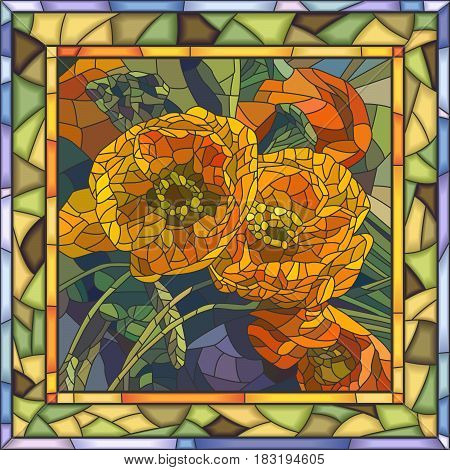 Vector mosaic of poppy flowers in square stained-glass window frame.