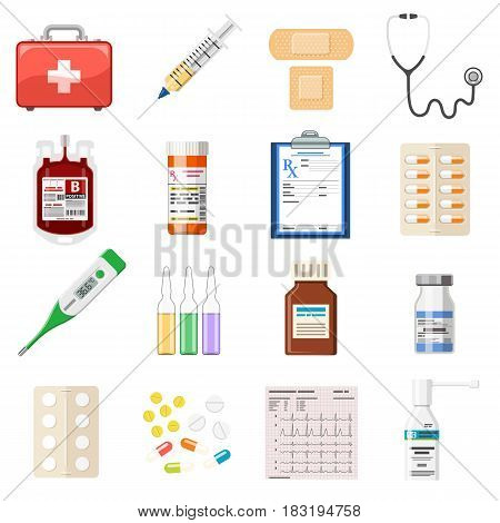 Set of medical and healthcare icons in flat style. Health treatment, blood transfusion, cardiogram, prescription, thermometer, stethoscope, vitamin and syringe. isolated vector illustration