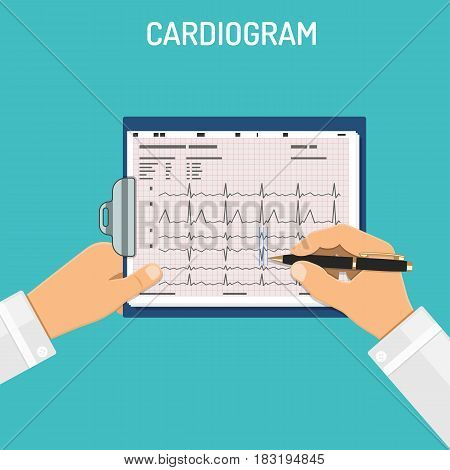 Doctor holds cardiogram on clipboard in hands and examines it. Medical and healthcare concept. flat style icons. isolated vector illustration