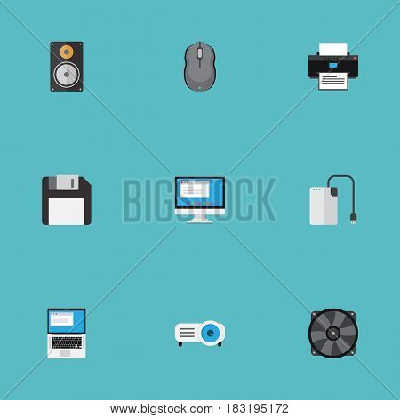 Flat Printing Machine, Display, Control Device And Other Vector Elements. Set Of Laptop Flat Symbols Also Includes Ventilator, Cable, Presentation Objects.