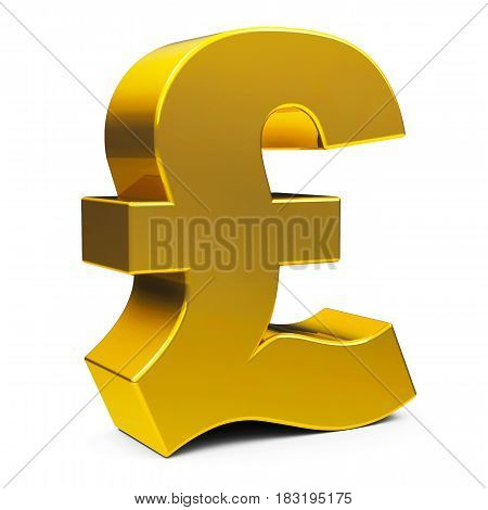 Golden Pound sign isolated on white background three-dimensional rendering 3D illustration