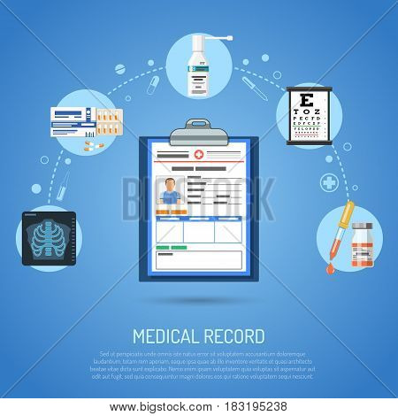 Medical record concept with flat icons card of patient, x-ray, eyesight and pills. isolated vector illustration