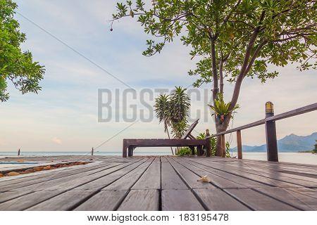 Terrace bar resort in tropical sea beach at Koh Chang Thailand