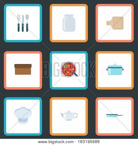 Flat Breadboard, Broth, Skillet And Other Vector Elements. Set Of Gastronomy Flat Symbols Also Includes Hat, Teapot, Knife Objects.