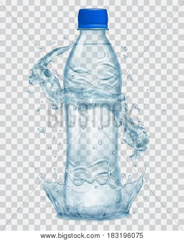 Transparent water crown and water splashes in gray colors around a gray transparent plastic bottle with blue cap filled with mineral water. Transparency only in vector file