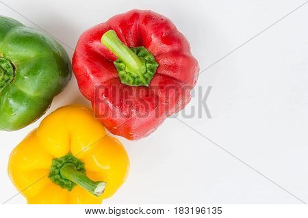 sweet pepper isolated in white background raw vagetable