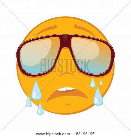 Cute emoticon crying in a sunglasses on white background. Vector illustration.