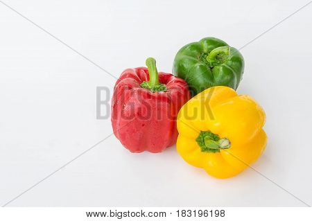 sweet pepper isolated in white background rew vagetable