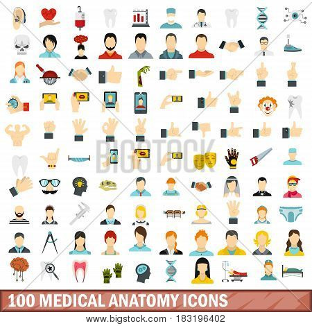 100 medical anatomy icons set in flat style for any design vector illustration