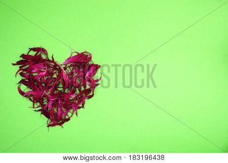 Heart of dried blue flowers on bright green background