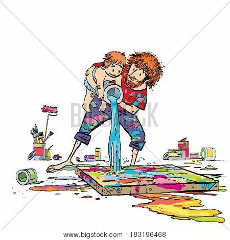 the artist with his son paint a picture. Family creativity. Caricature cartoon style hand drawn color illustration