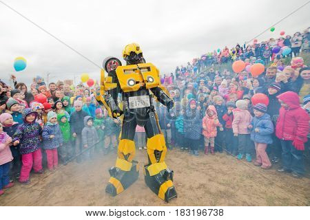 Russia. Moscow region. Balashikha - September 18, 2016. Transformers show on a children's holiday. horizontally
