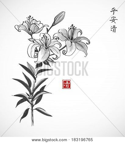 Lily flowers on white background. Traditional oriental ink painting sumi-e, u-sin, go-hua. Contains hieroglyphs - peace, tranqility, clarity