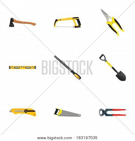 Realistic Tongs, Plumb Ruler, Hacksaw And Other Vector Elements. Set Of Kit Realistic Symbols Also Includes Ax, Tool, Spade Objects.