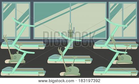 Gym with large panoramic window illustration rasterized