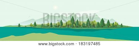 Flat vector cartoon style illustration of nature landscape with trees and mountain with river.