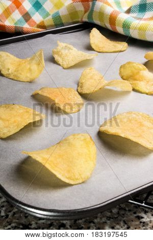 home made potato crisps fresh out the oven