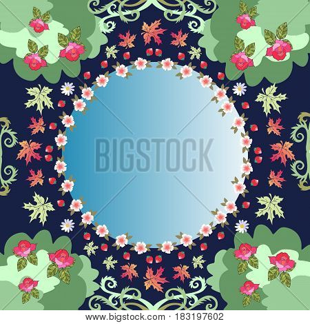Unusual natural pattern with round mirror and decorative floral frame. Beautiful vector illustration.