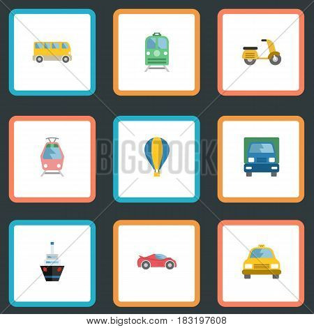 Flat Boat, Metro, Truck And Other Vector Elements. Set Of Transport Flat Symbols Also Includes Streetcar, Tram, Freight Objects.