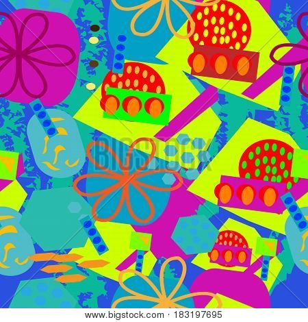 Seamless abstract design with ovals; flower squares