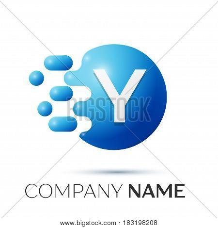 Y Letter splash logo. Blue dots and circle bubble letter design on grey background. Vector Illustration