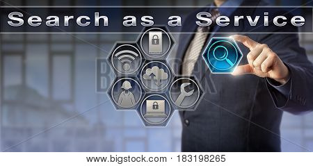 Blue chip enterprise manager utilizing Search as a Service via an interactive control matrix. Information technology metaphor and business concept for enterprise search or site-specific web search.