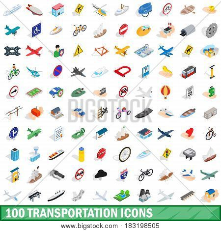 100 transportation icons set in isometric 3d style for any design vector illustration