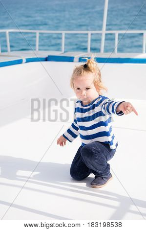 Little Baby Captain On Boat On Summer Cruise, Nautical Fashion