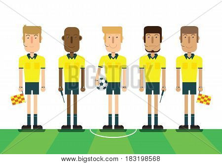 Soccer referees football referees on white background. Flat design people characters. vector illustration.
